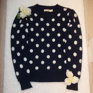Navy and White Polka Dot Sweater Size Small